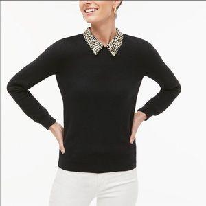 J Crew leopard collar black sweater XS